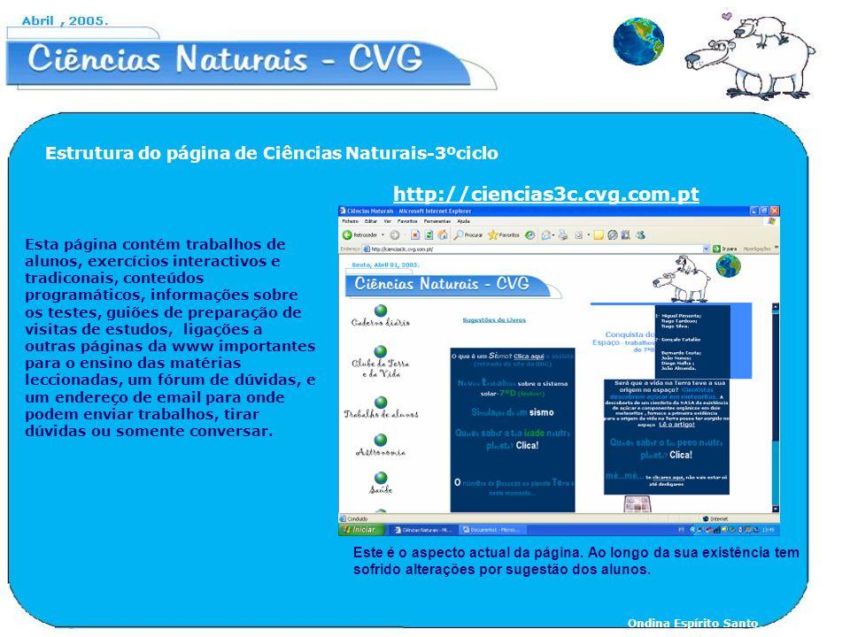 Estrutura do página de Ciências Naturais-3ºciclo