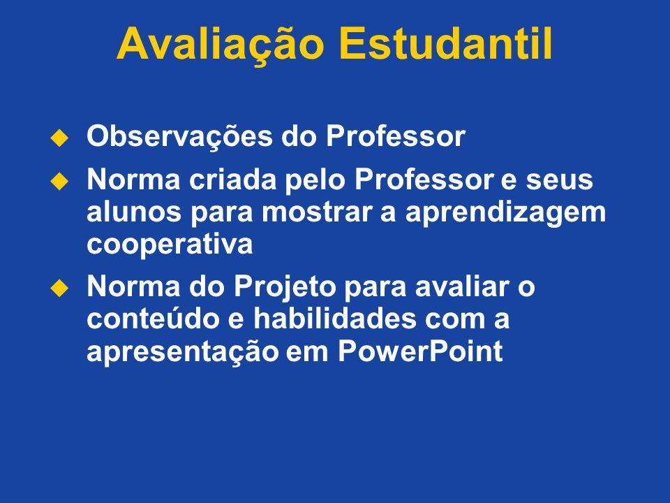 Avaliação Estudantil Observações do Professor