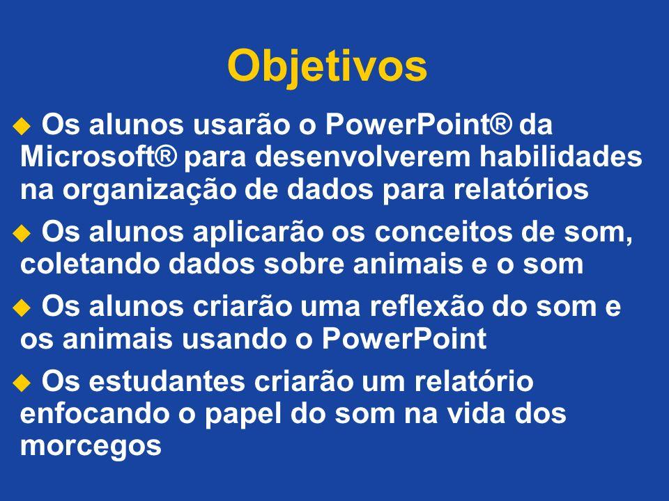 Objetivos Os alunos usarão o PowerPoint® da Microsoft® para desenvolverem habilidades na organização de dados para relatórios.