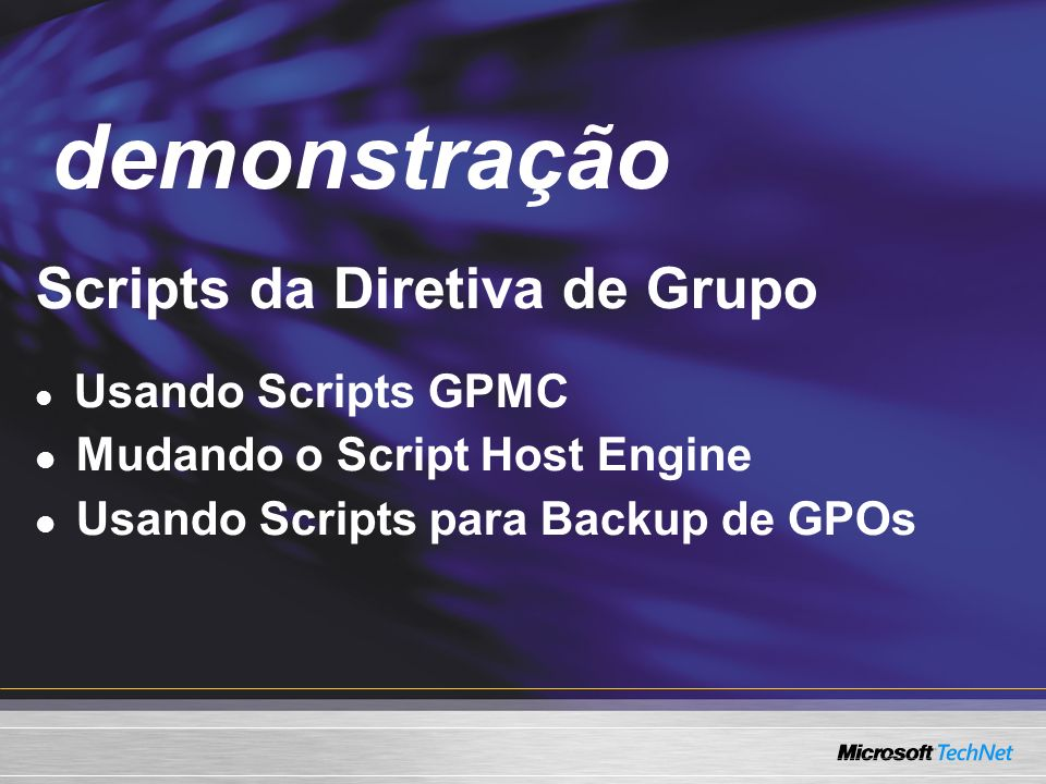 demonstração Demo Scripts da Diretiva de Grupo