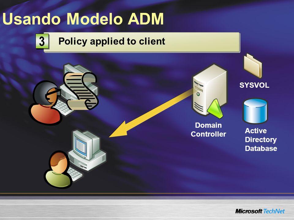 Usando Modelo ADM 2 3 1 Stored on domain controller