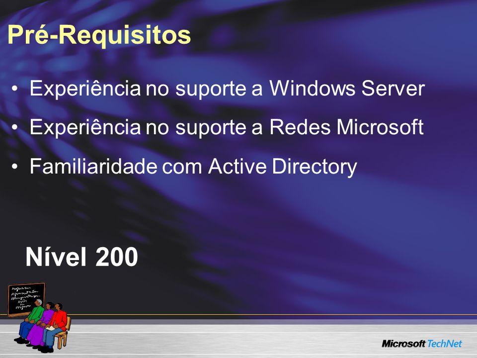 Pré-Requisitos Nível 200 Experiência no suporte a Windows Server