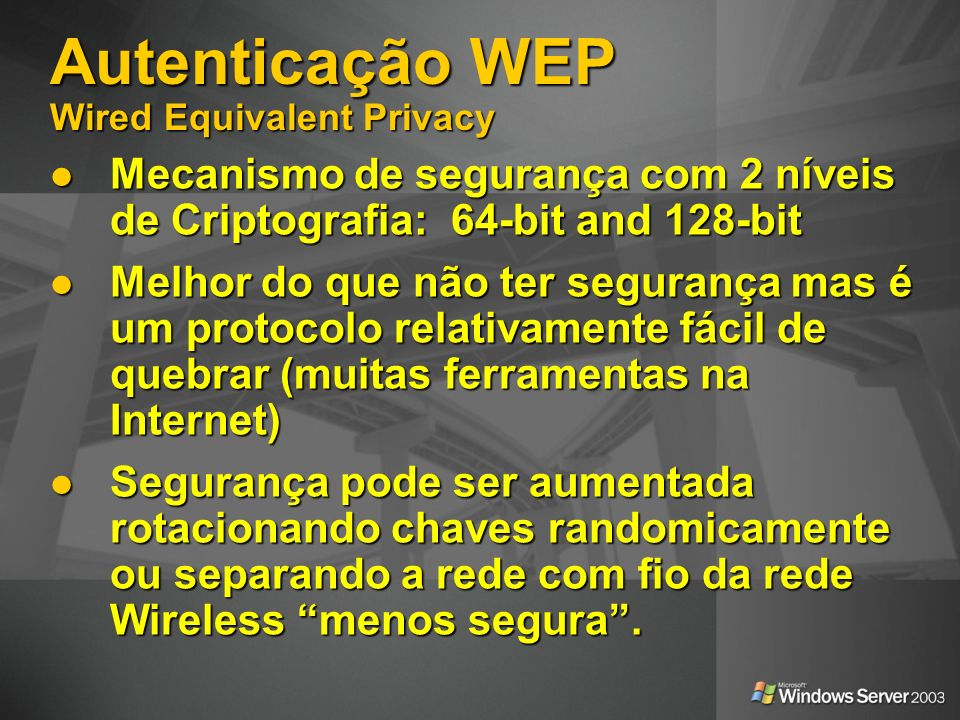 Autenticação WEP Wired Equivalent Privacy