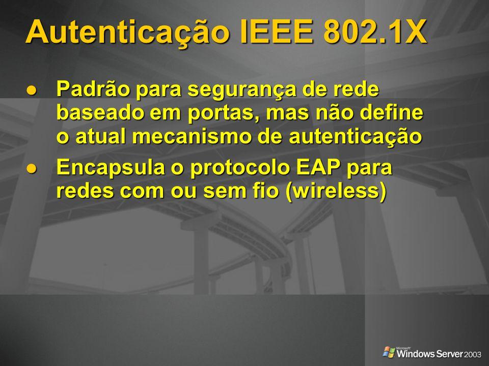 Autenticação IEEE 802.1X Padrão para segurança de rede baseado em portas, mas não define o atual mecanismo de autenticação.