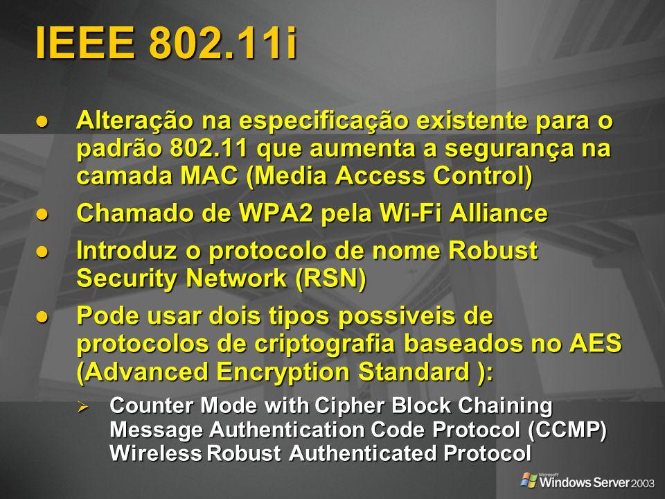 IEEE 802.11i Alteração na especificação existente para o padrão 802.11 que aumenta a segurança na camada MAC (Media Access Control)