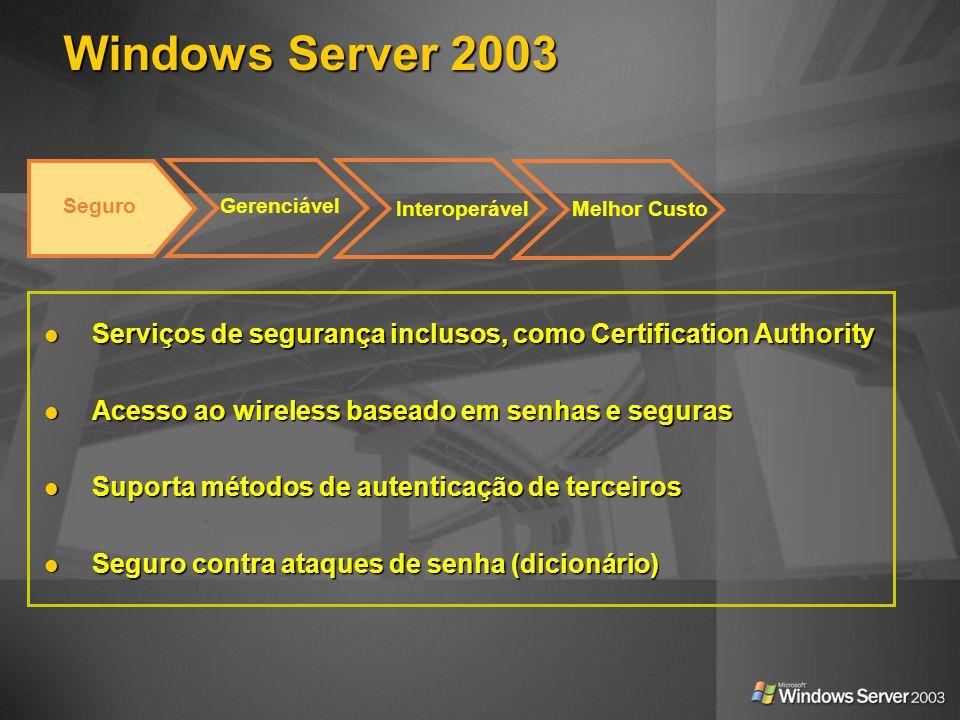 Windows Server 2003Seguro. Gerenciável. Interoperável. Melhor Custo. Serviços de segurança inclusos, como Certification Authority.