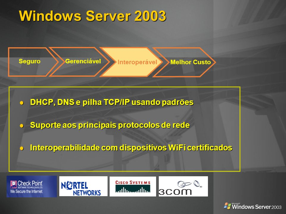 Windows Server 2003 DHCP, DNS e pilha TCP/IP usando padrões