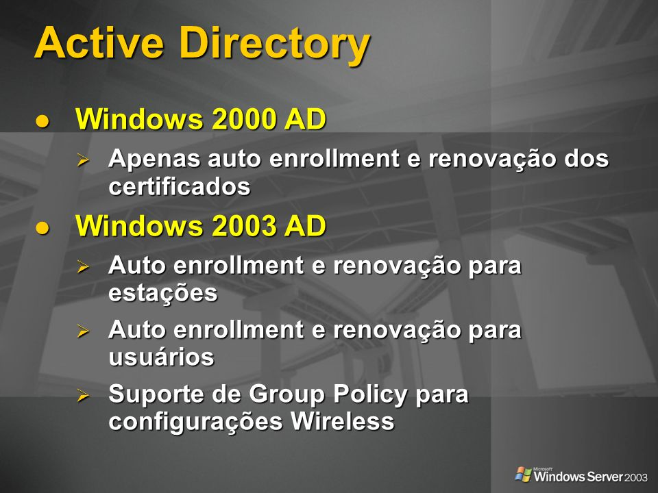 Active Directory Windows 2000 AD Windows 2003 AD