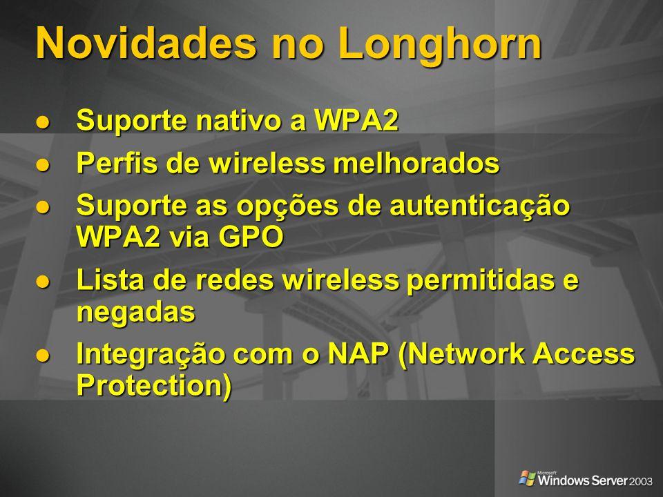 Novidades no Longhorn Suporte nativo a WPA2