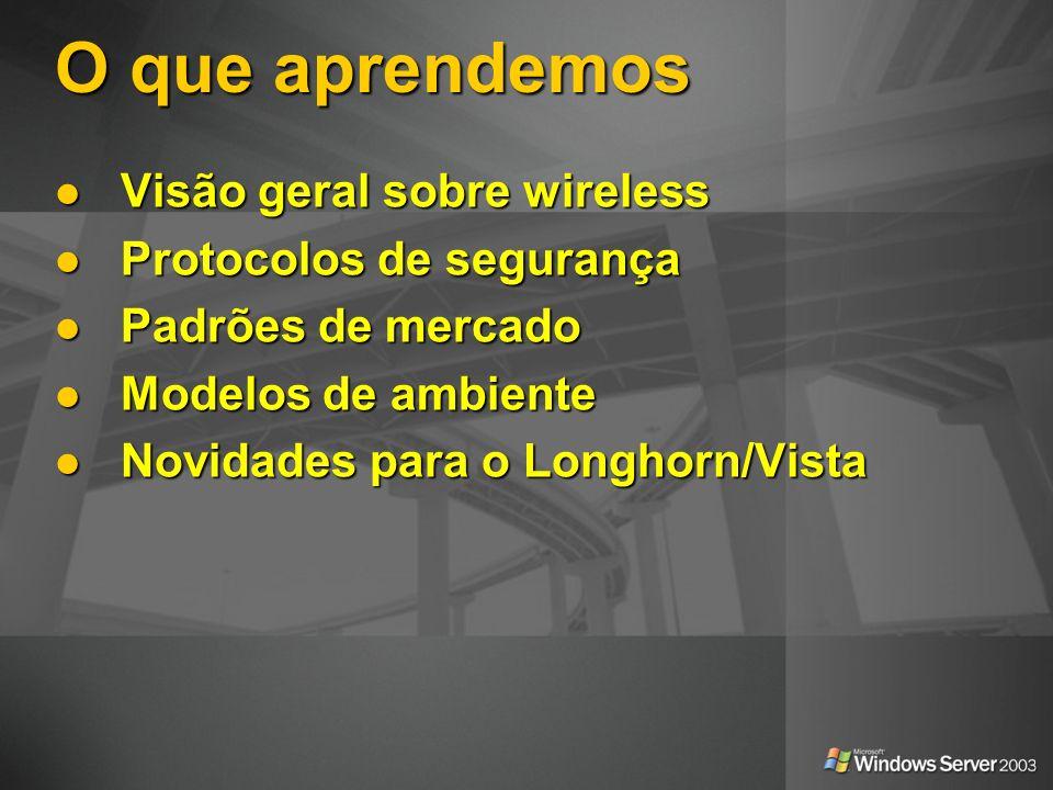 O que aprendemos Visão geral sobre wireless Protocolos de segurança