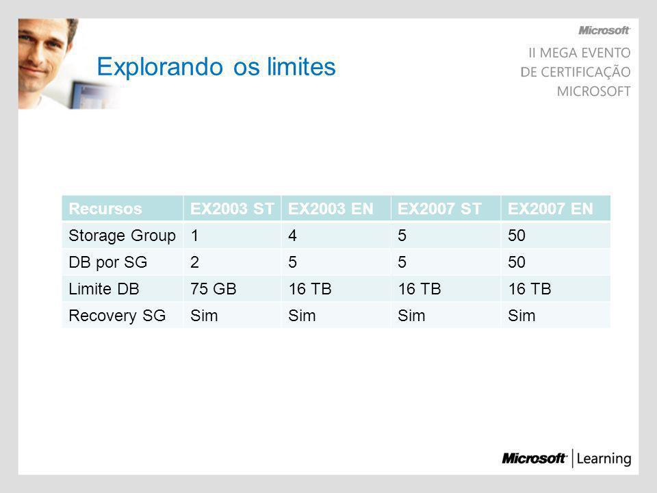 Explorando os limites Recursos EX2003 ST EX2003 EN EX2007 ST EX2007 EN