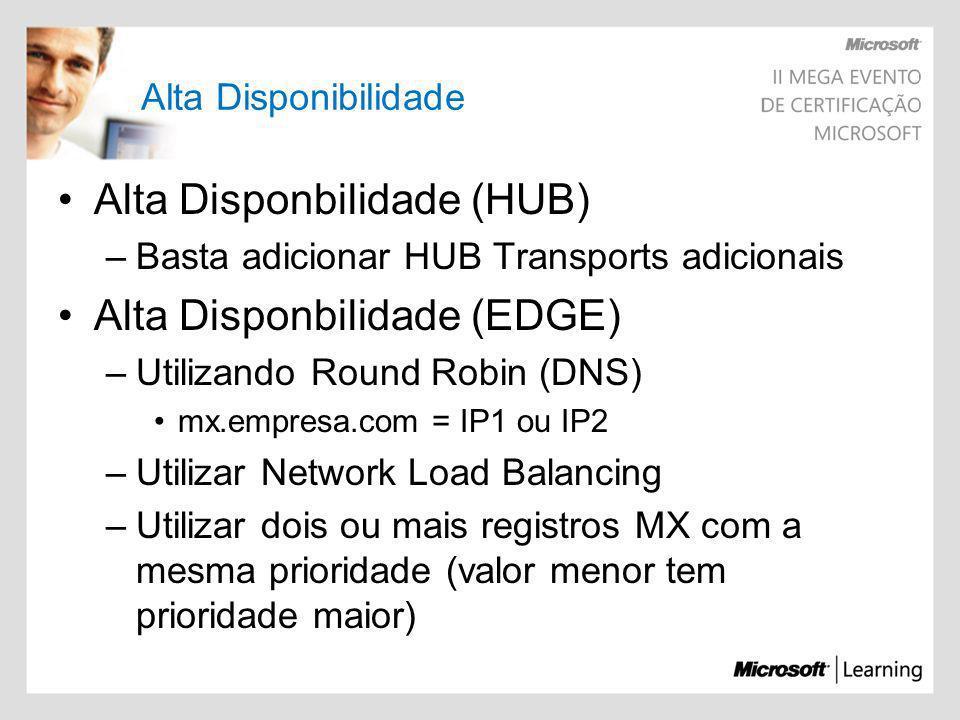Alta Disponbilidade (HUB) Alta Disponbilidade (EDGE)