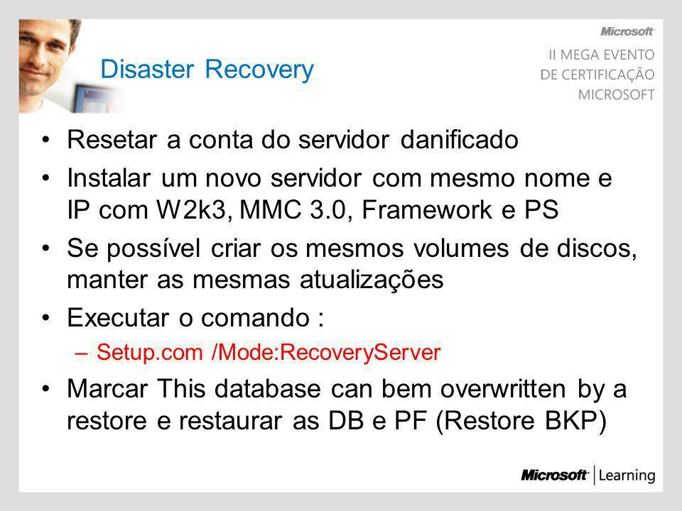 Resetar a conta do servidor danificado
