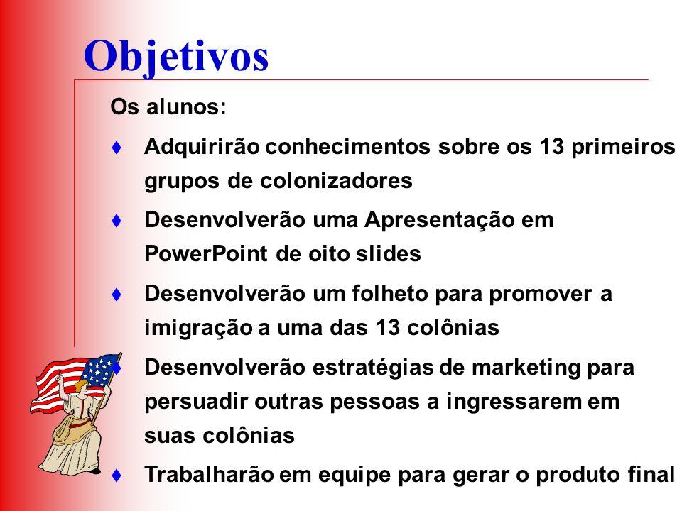 Objetivos Os alunos: Adquirirão conhecimentos sobre os 13 primeiros grupos de colonizadores.