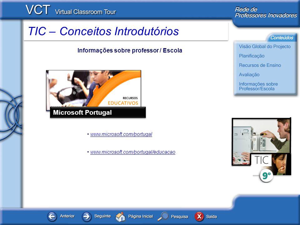 Microsoft Portugal Informações sobre professor / Escola