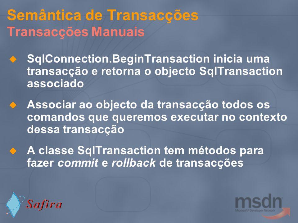 Semântica de Transacções Transacções Manuais