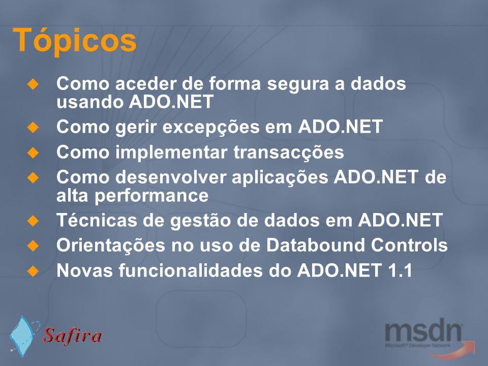 Tópicos Como aceder de forma segura a dados usando ADO.NET