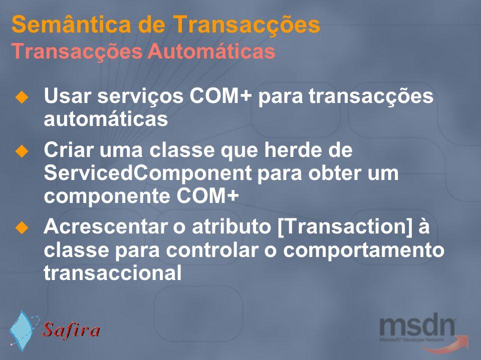 Semântica de Transacções Transacções Automáticas
