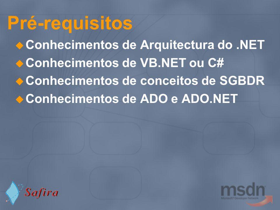 Pré-requisitos Conhecimentos de Arquitectura do .NET