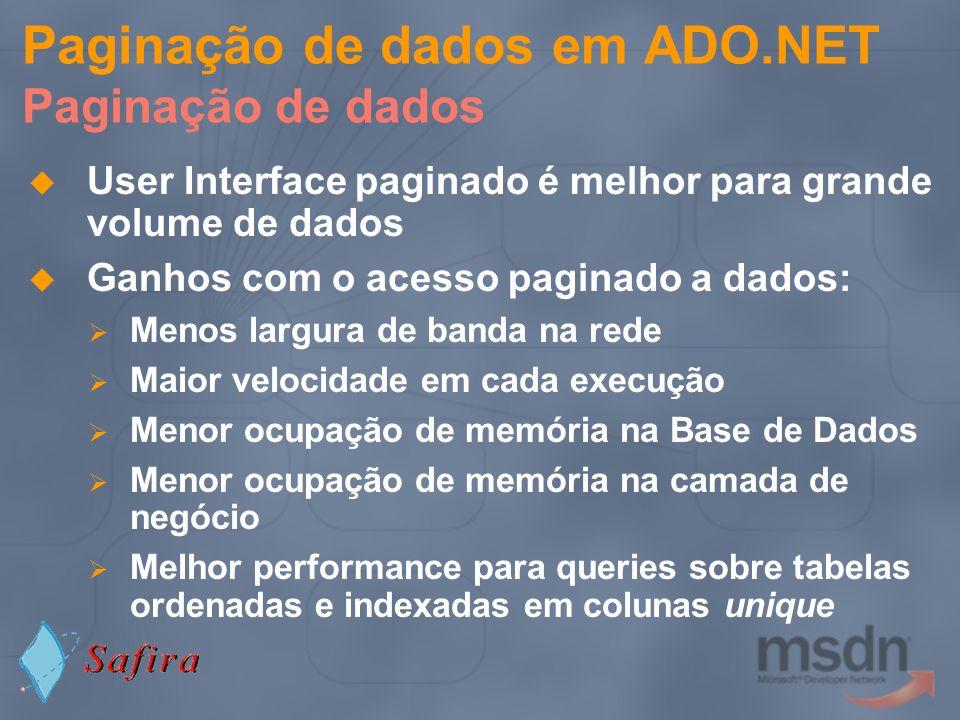 Paginação de dados em ADO.NET Paginação de dados