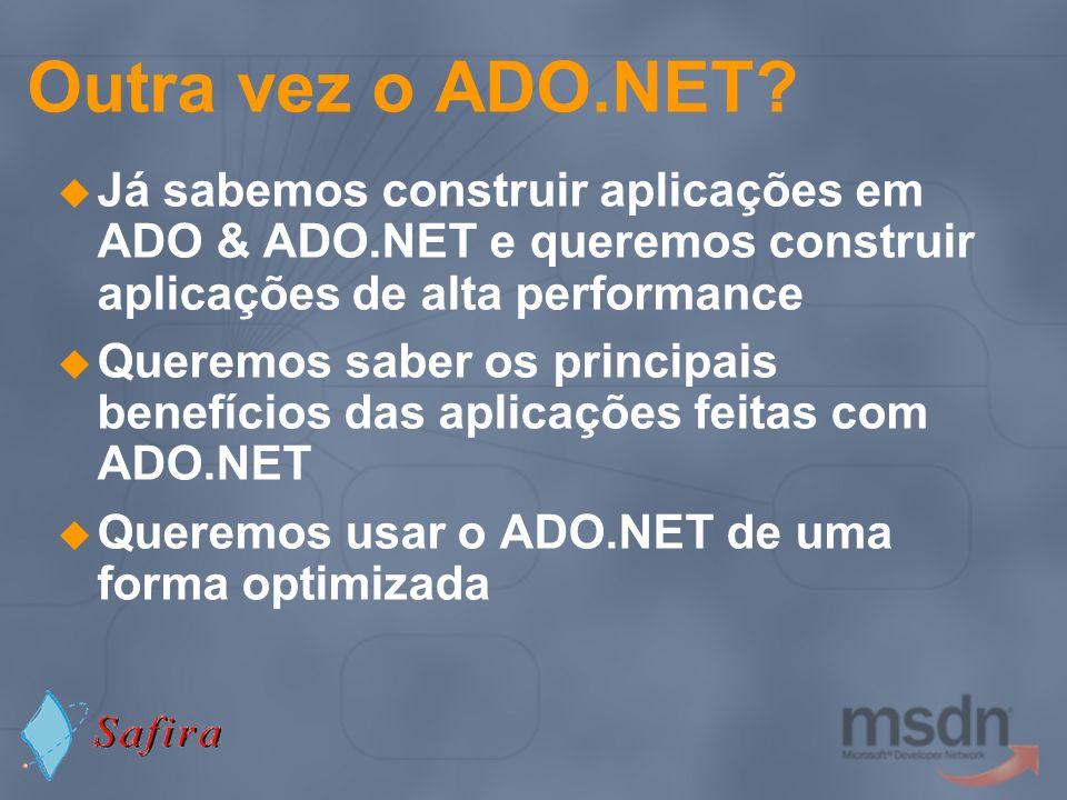 Outra vez o ADO.NET Já sabemos construir aplicações em ADO & ADO.NET e queremos construir aplicações de alta performance.