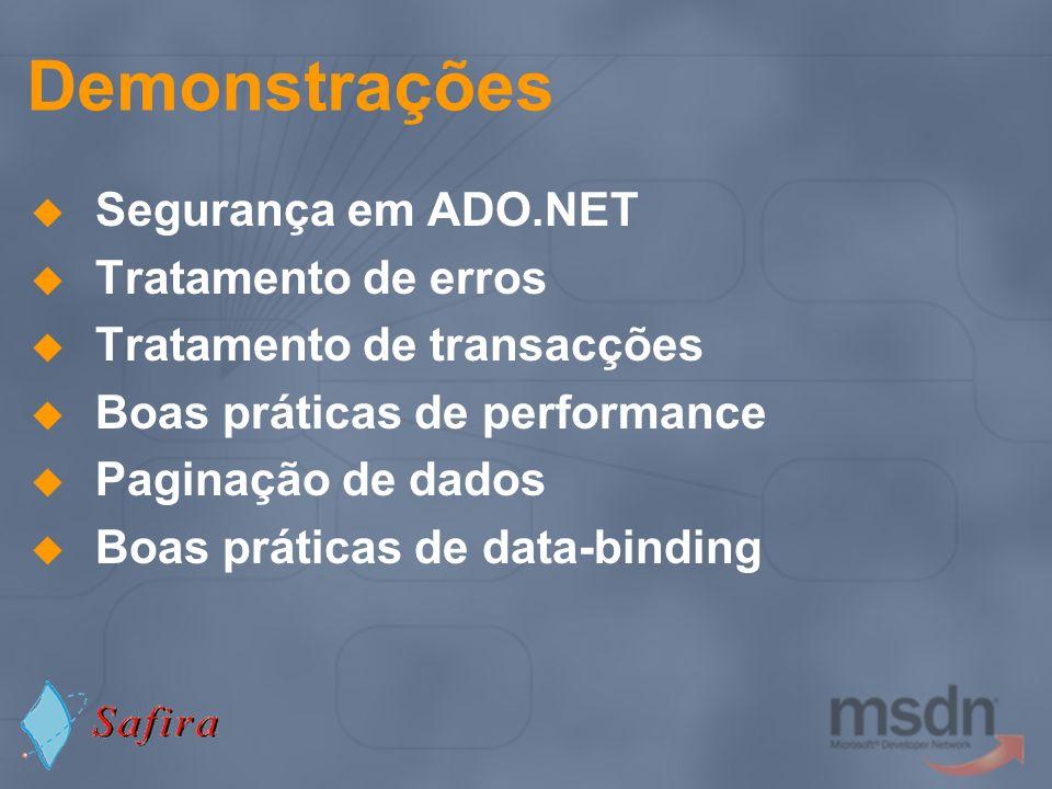 Demonstrações Segurança em ADO.NET Tratamento de erros