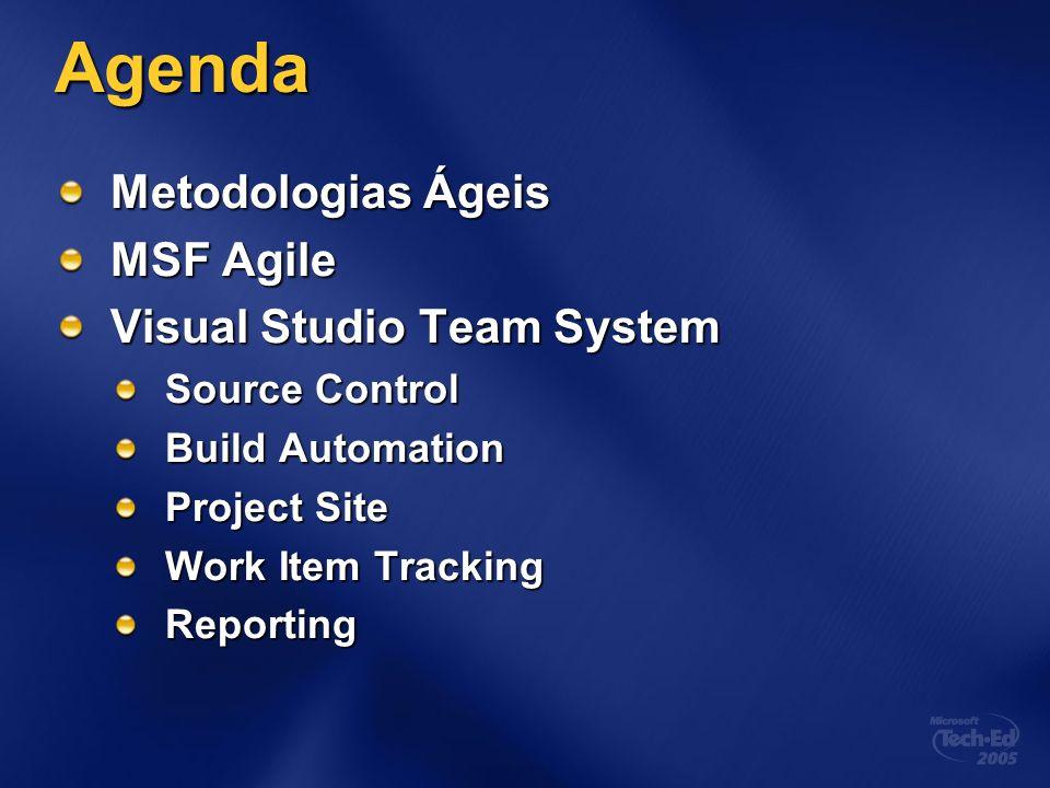 Agenda Metodologias Ágeis MSF Agile Visual Studio Team System