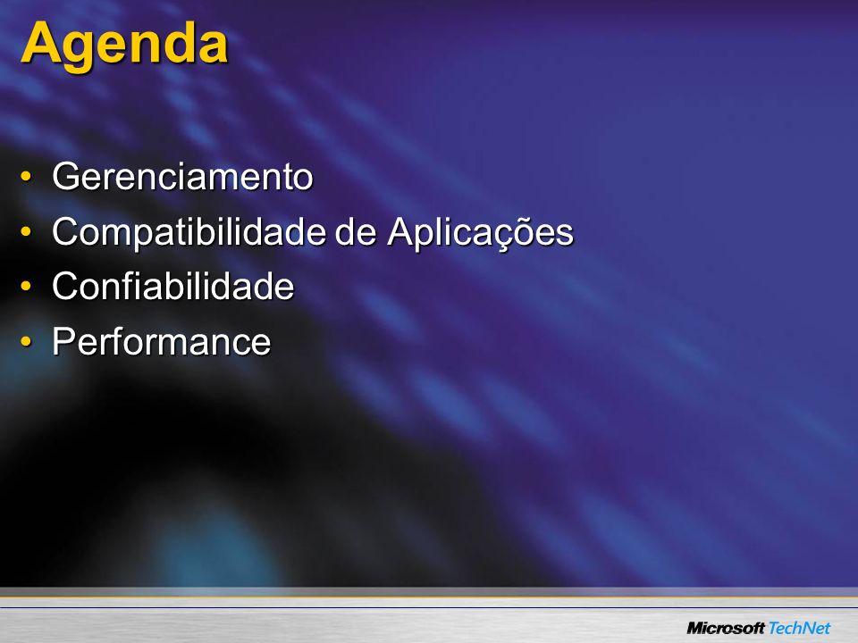 Agenda Gerenciamento Compatibilidade de Aplicações Confiabilidade