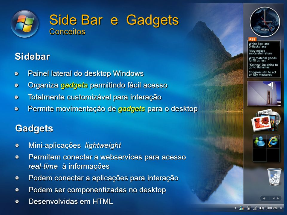 Side Bar e Gadgets Conceitos