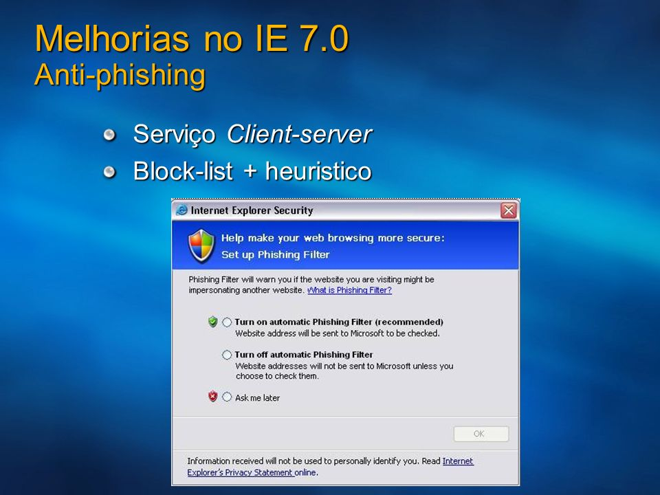 Melhorias no IE 7.0 Anti-phishing