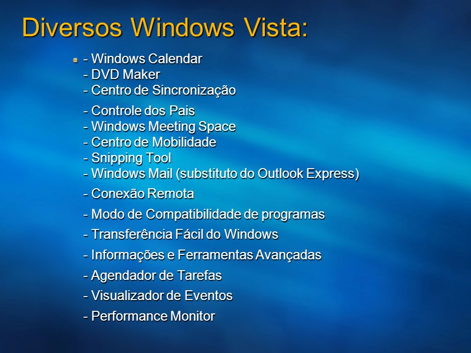 Diversos Windows Vista: