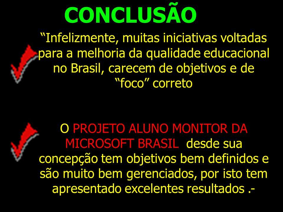 CONCLUSÃO Infelizmente, muitas iniciativas voltadas para a melhoria da qualidade educacional no Brasil, carecem de objetivos e de foco correto.