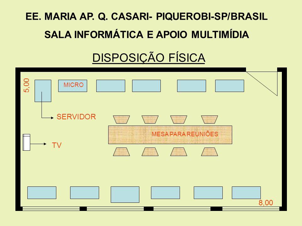 DISPOSIÇÃO FÍSICA EE. MARIA AP. Q. CASARI- PIQUEROBI-SP/BRASIL