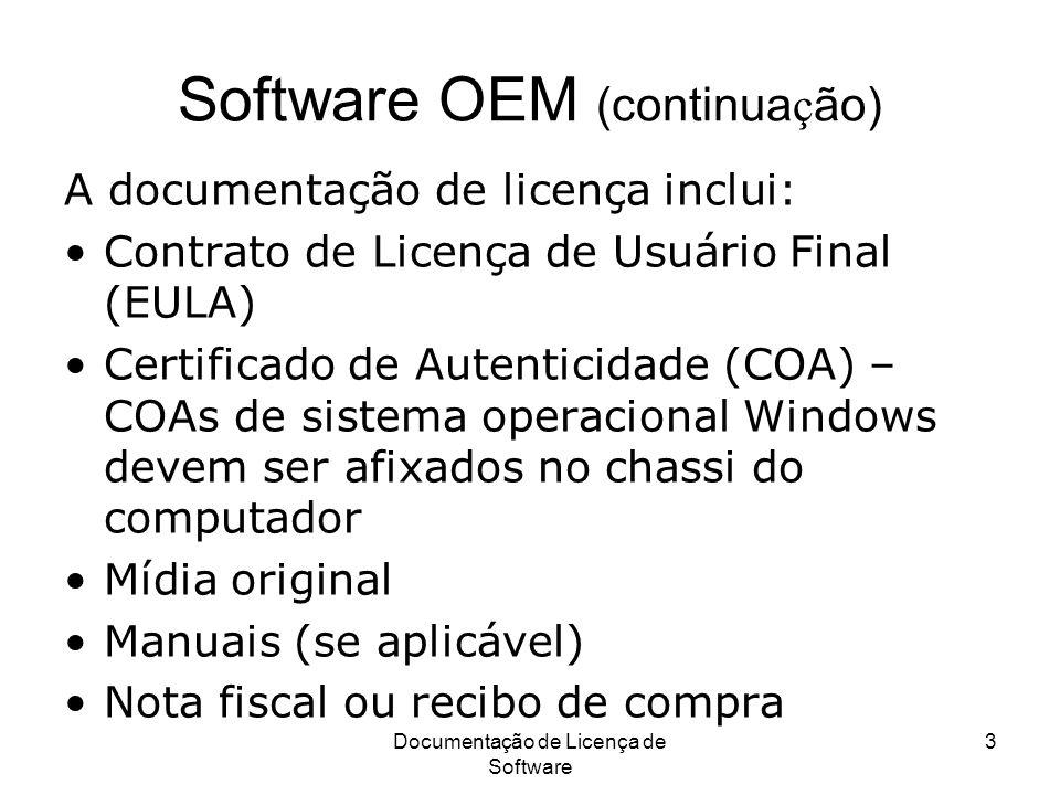 Software OEM (continuação)