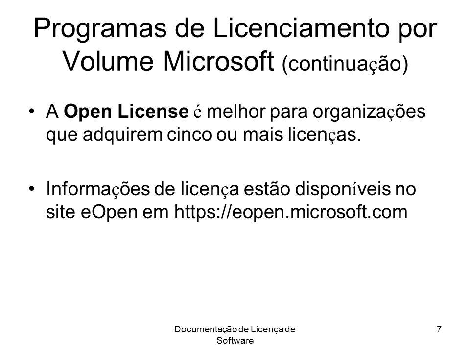 Programas de Licenciamento por Volume Microsoft (continuação)