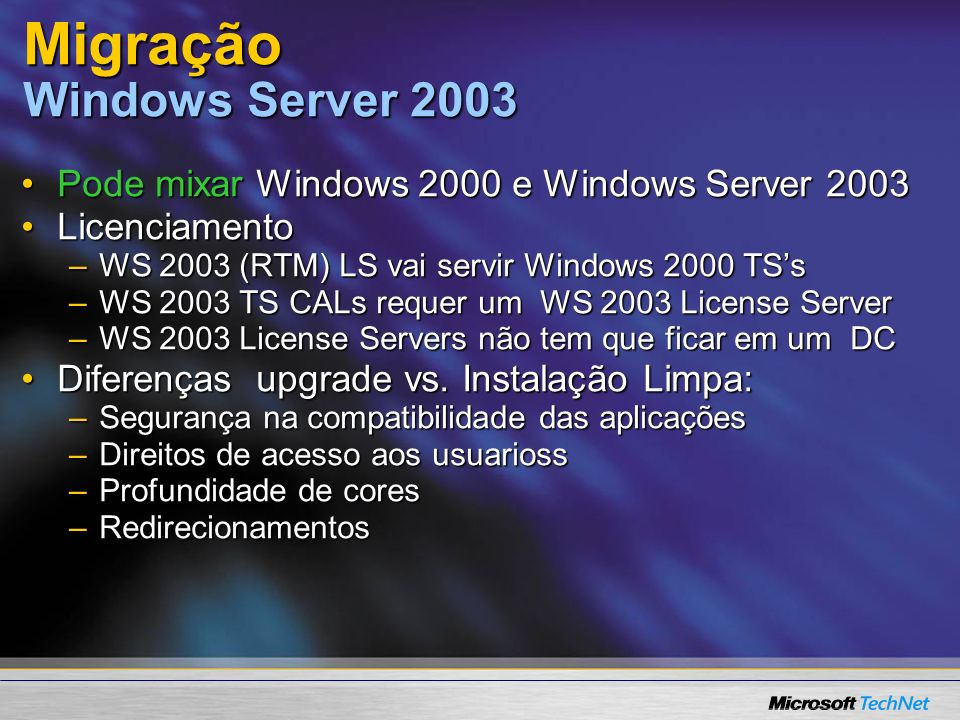 Migração Windows Server 2003