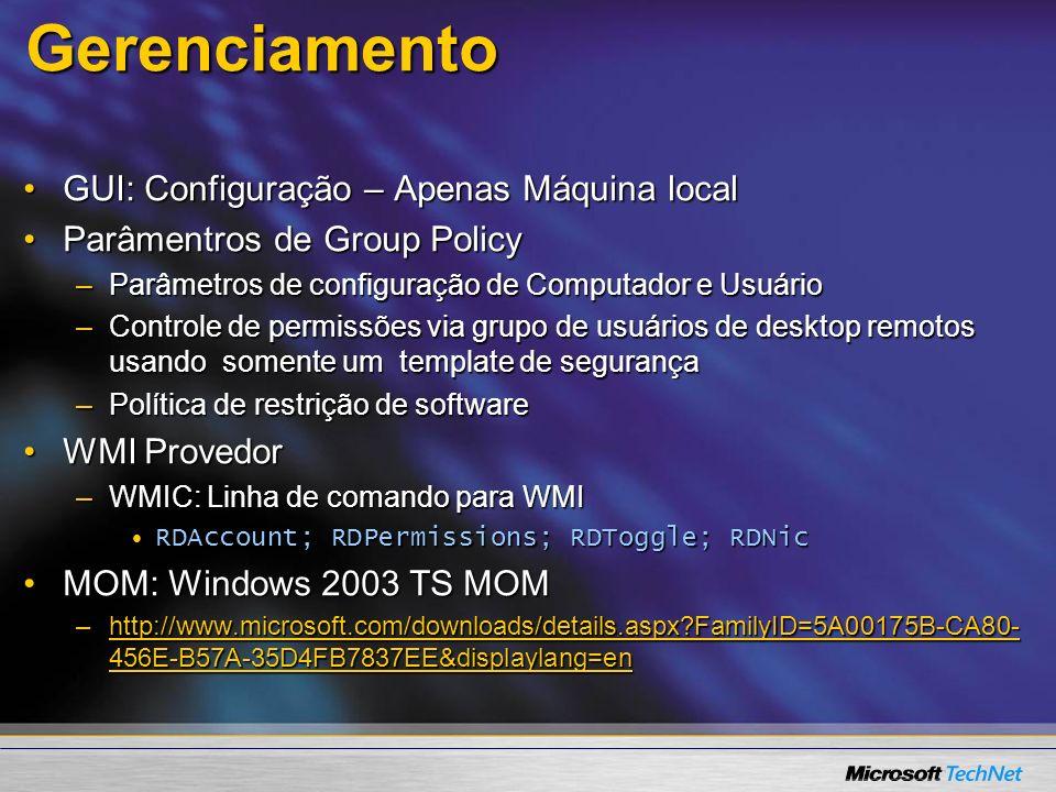 Gerenciamento GUI: Configuração – Apenas Máquina local