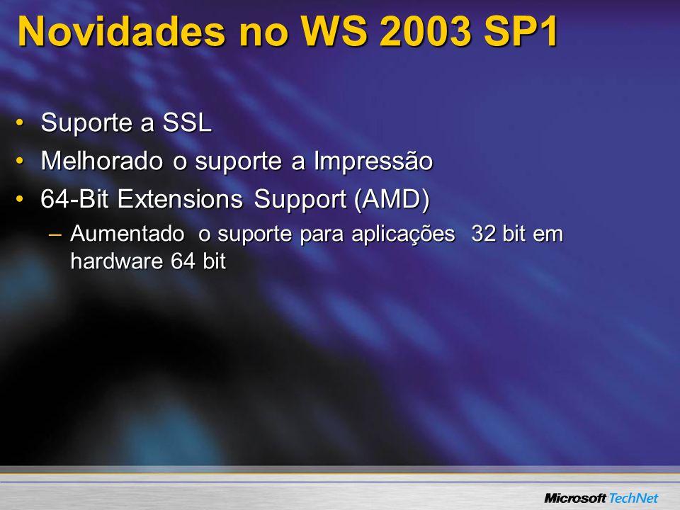 Novidades no WS 2003 SP1 Suporte a SSL Melhorado o suporte a Impressão