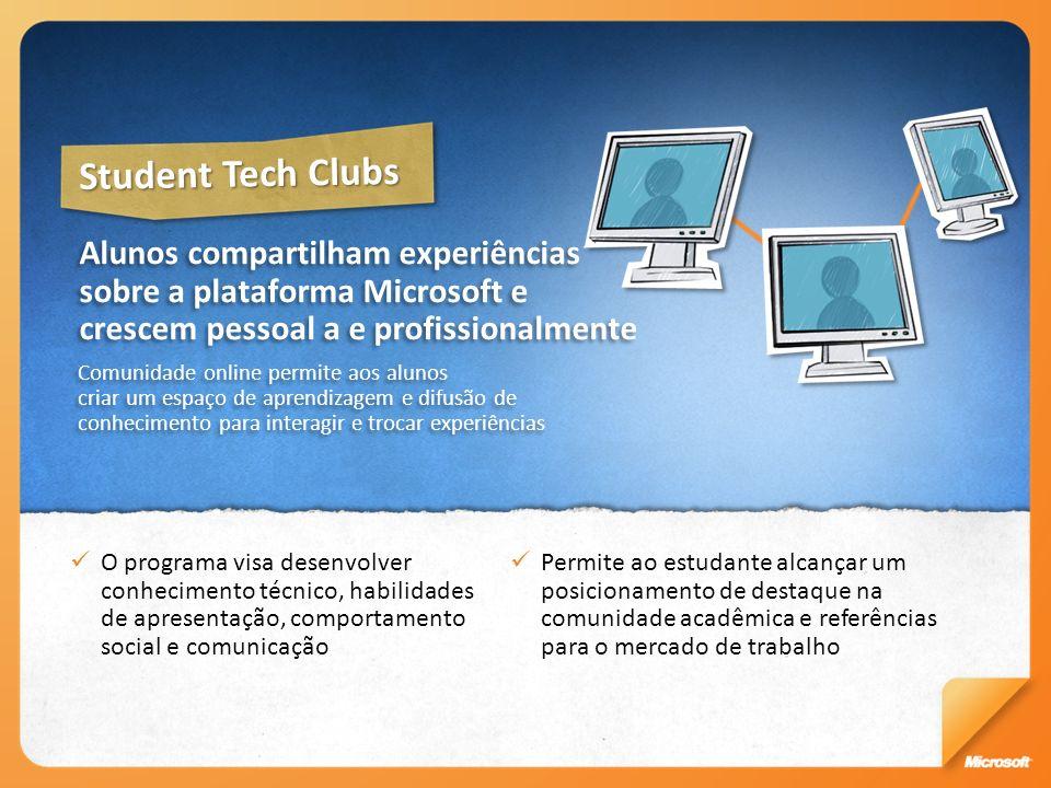 Student Tech Clubs Alunos compartilham experiências sobre a plataforma Microsoft e crescem pessoal a e profissionalmente.
