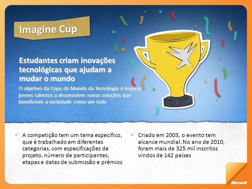 Imagine Cup Estudantes criam inovações tecnológicas que ajudam a mudar o mundo.