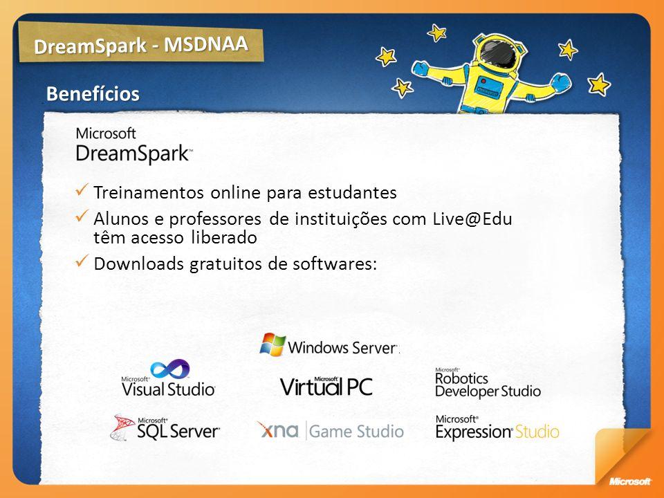 DreamSpark - MSDNAA Benefícios Treinamentos online para estudantes