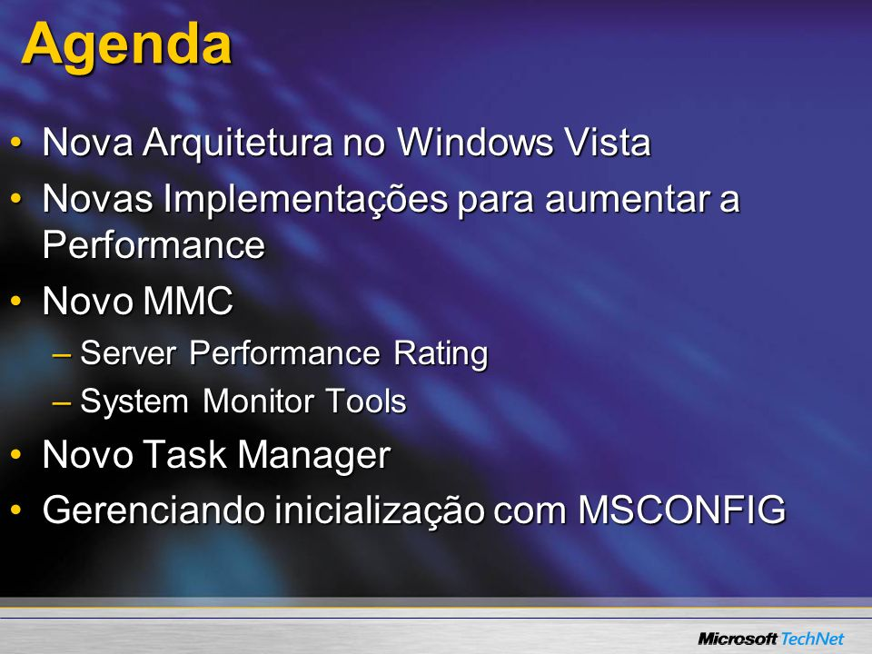 Agenda Nova Arquitetura no Windows Vista