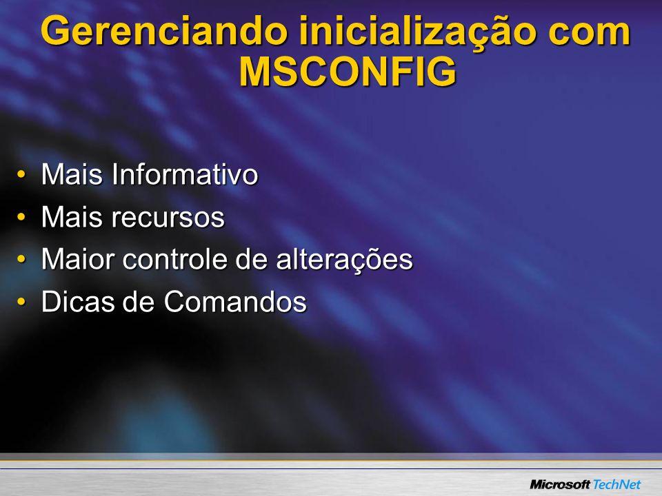 Gerenciando inicialização com MSCONFIG