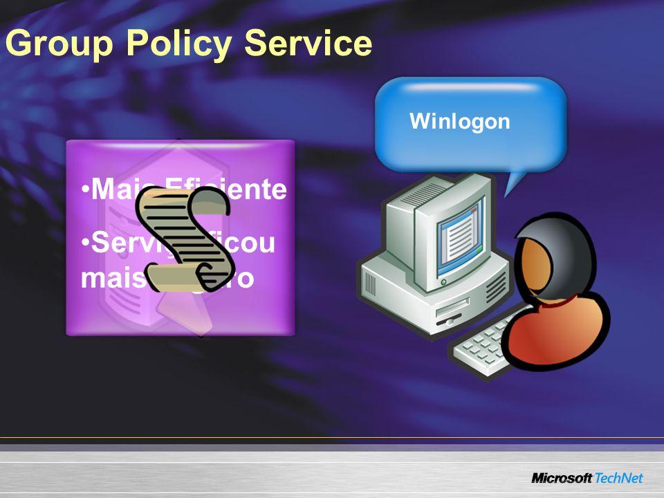 Group Policy Service Mais Eficiente Serviço ficou mais seguro Winlogon