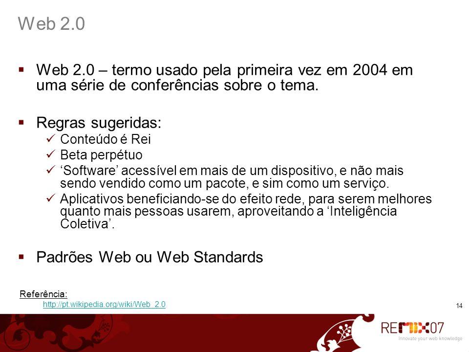 Web 2.0 Web 2.0 – termo usado pela primeira vez em 2004 em uma série de conferências sobre o tema. Regras sugeridas: