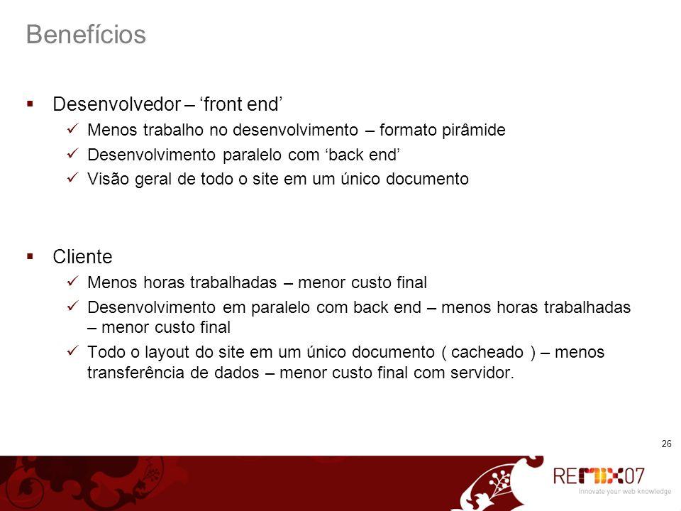 Benefícios Desenvolvedor – 'front end' Cliente