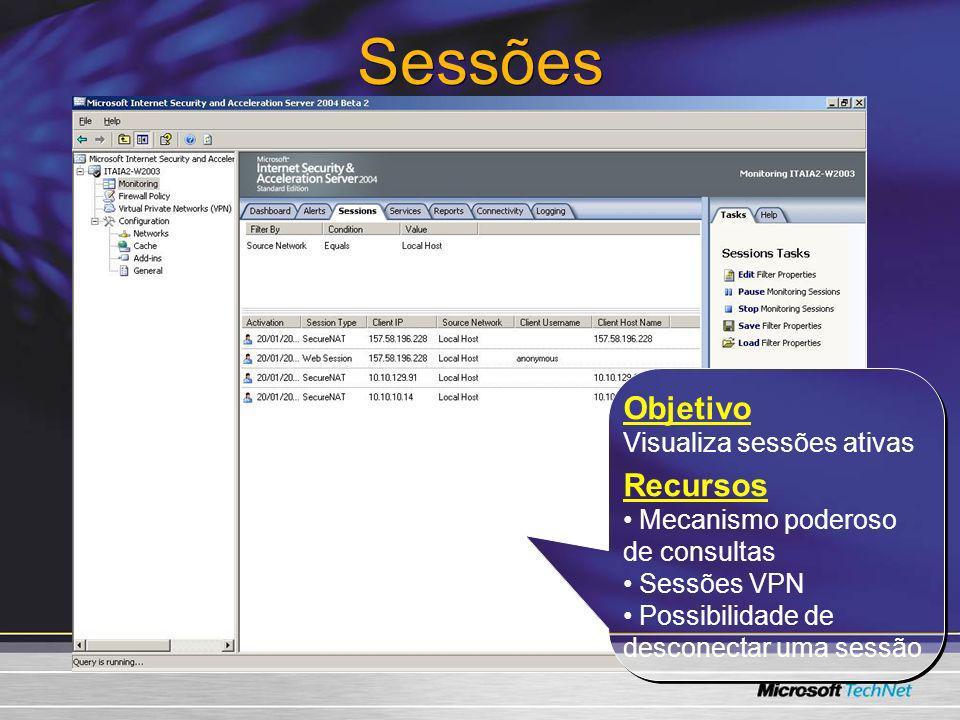 Sessões Objetivo Recursos Visualiza sessões ativas