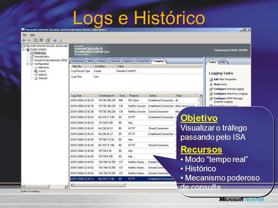 Logs e Histórico Objetivo Recursos