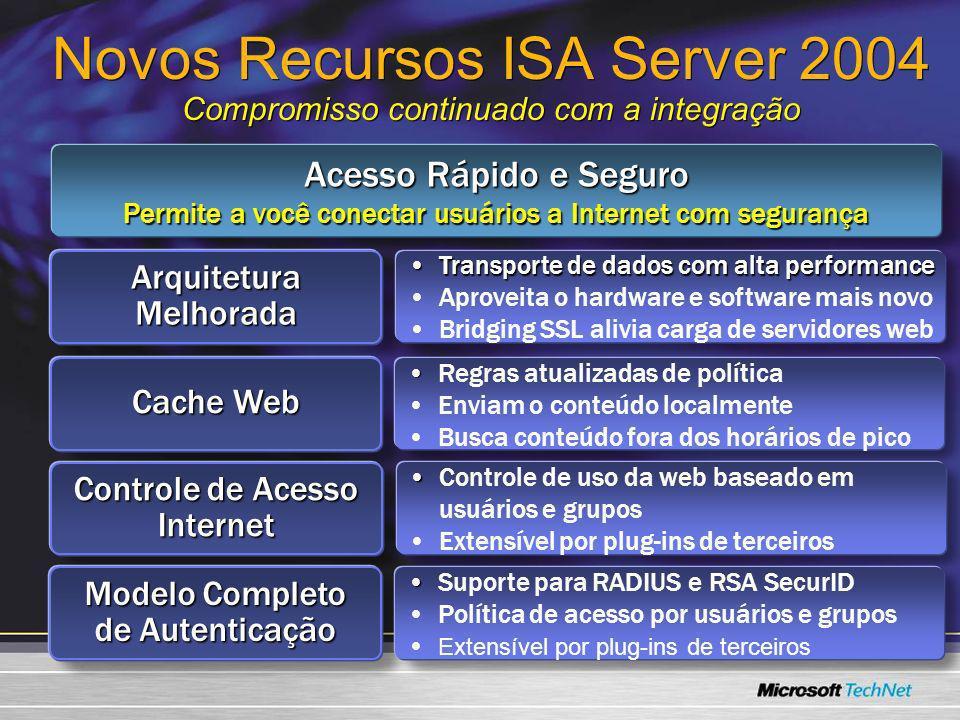 Novos Recursos ISA Server 2004 Compromisso continuado com a integração