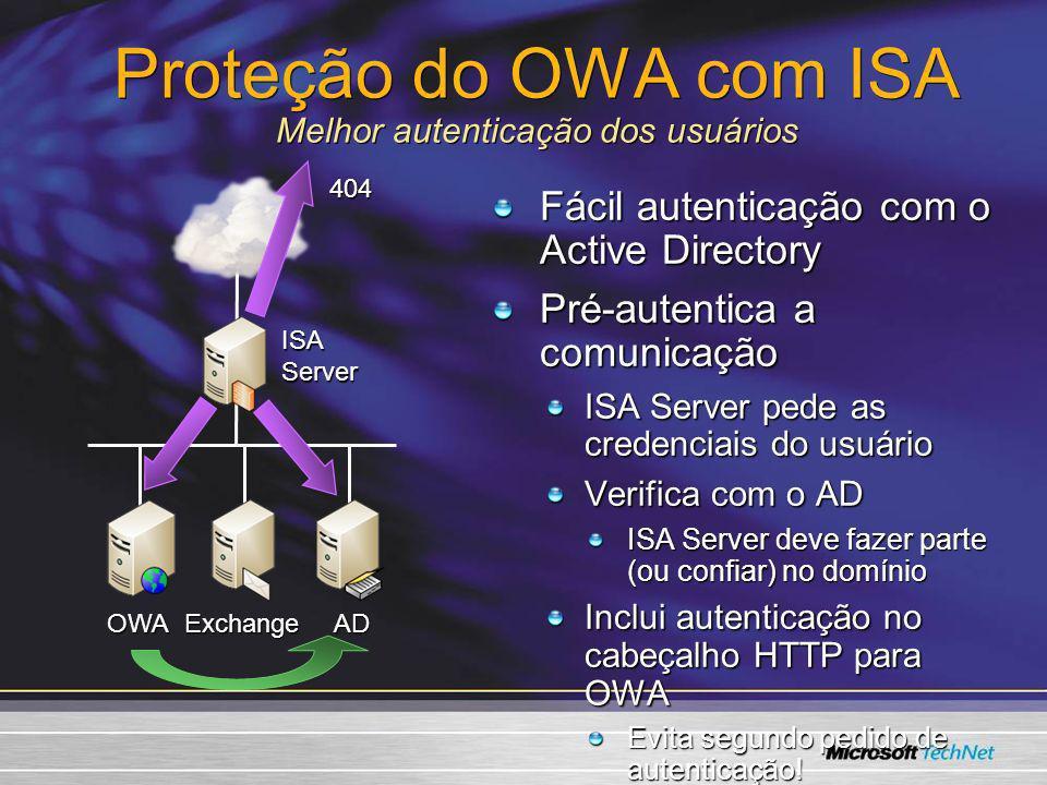 Proteção do OWA com ISA Melhor autenticação dos usuários